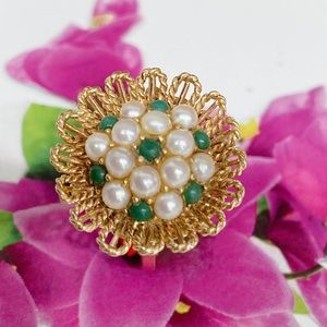 Vintage 14k Ring /Saltwater Pearl/ Jade